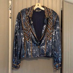 Rare Modi Blue and Gold Sequins Jacket